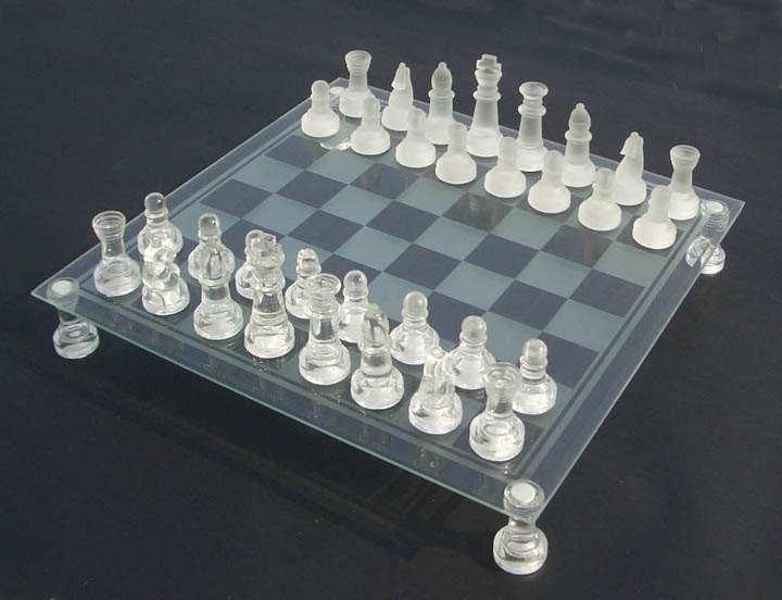 Glass Chess Set Black And White Frosted Glass Non Slip Glass 35 X ...